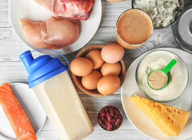 High protein foods include chicken beef eggs salmon beans cheese protein powder tofu and cottage cheese