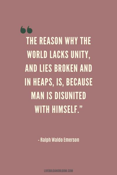 unity quote by Ralph Waldo Emerson