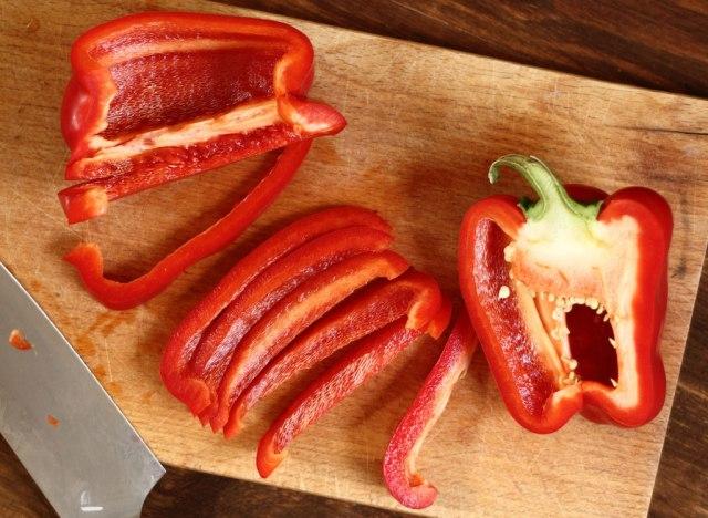 Sliced red bell pepper