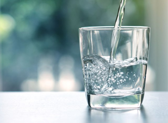 purified drinking water in a glass