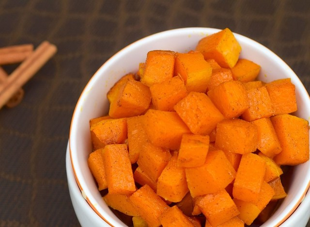 Diced sweet potato in white bowl - best ways to speed up your metabolism