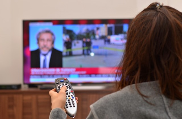 women watching tv and use remote controller