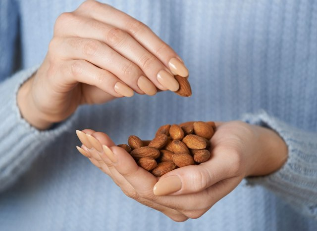 eating almonds