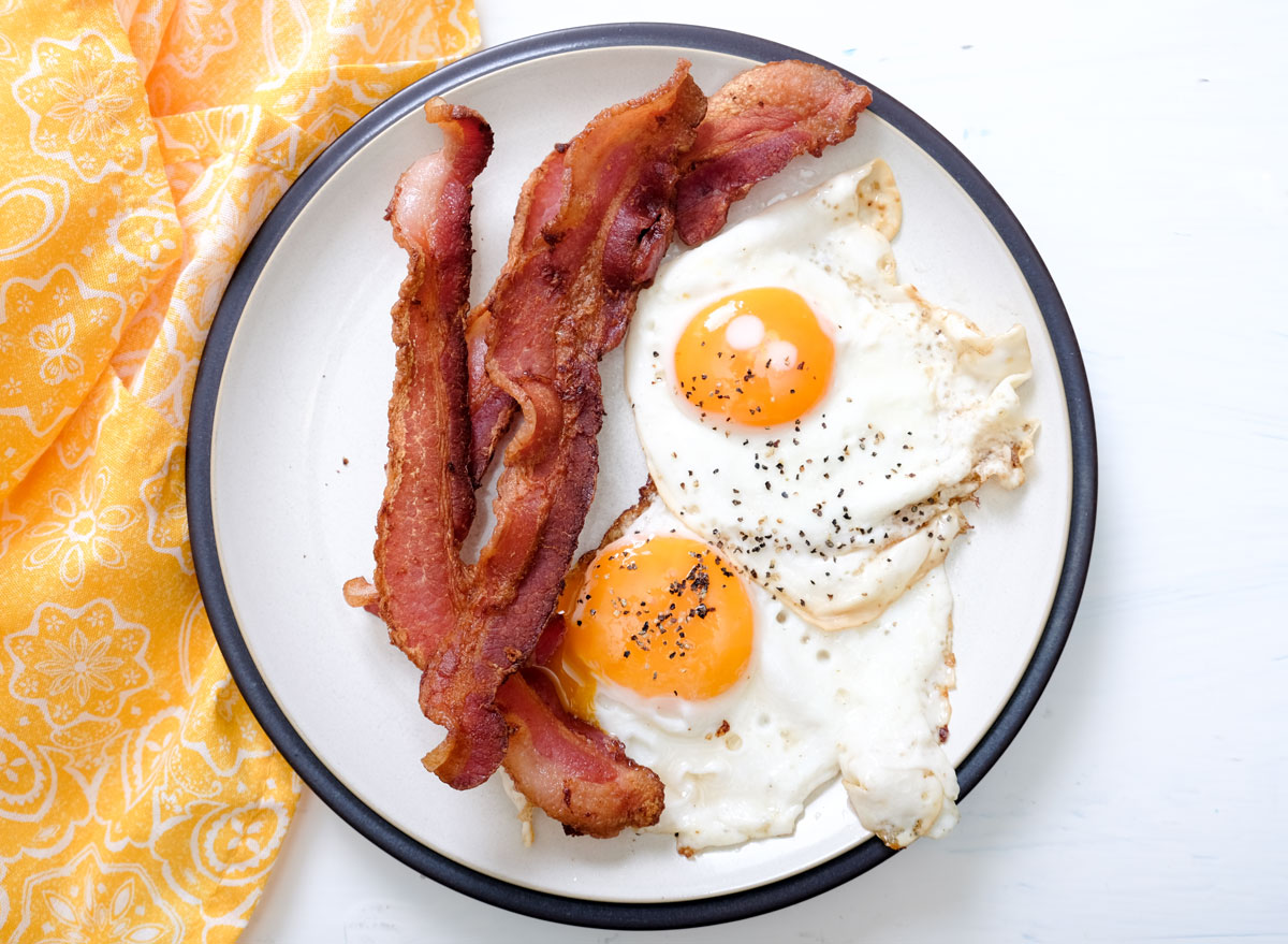 High protein keto breakfast of bacon and eggs
