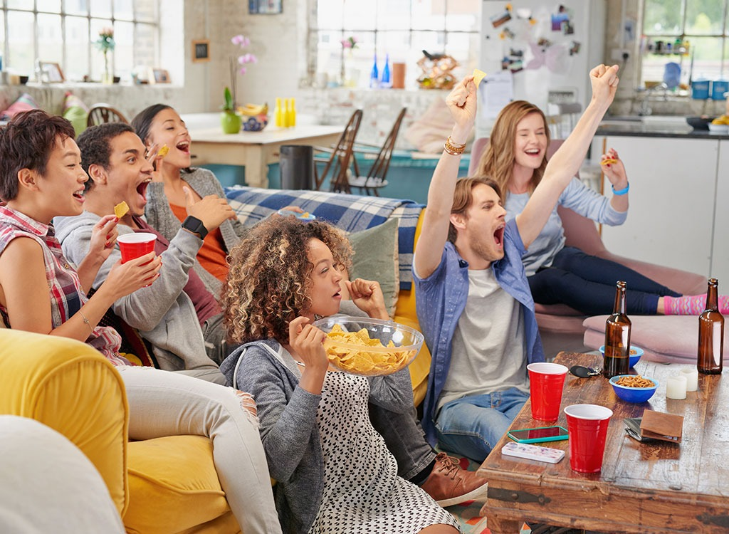group of friends watching tv