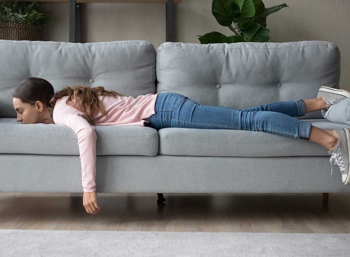laying on couch