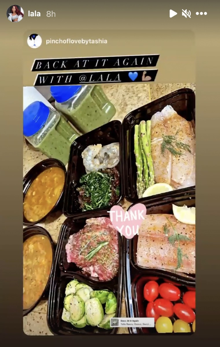 la la anthony's meals of fish and veggies in black containers