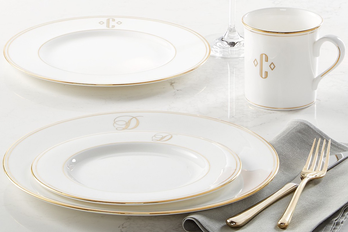 white dinner plate set with gold edge, monogrammed kitchen items