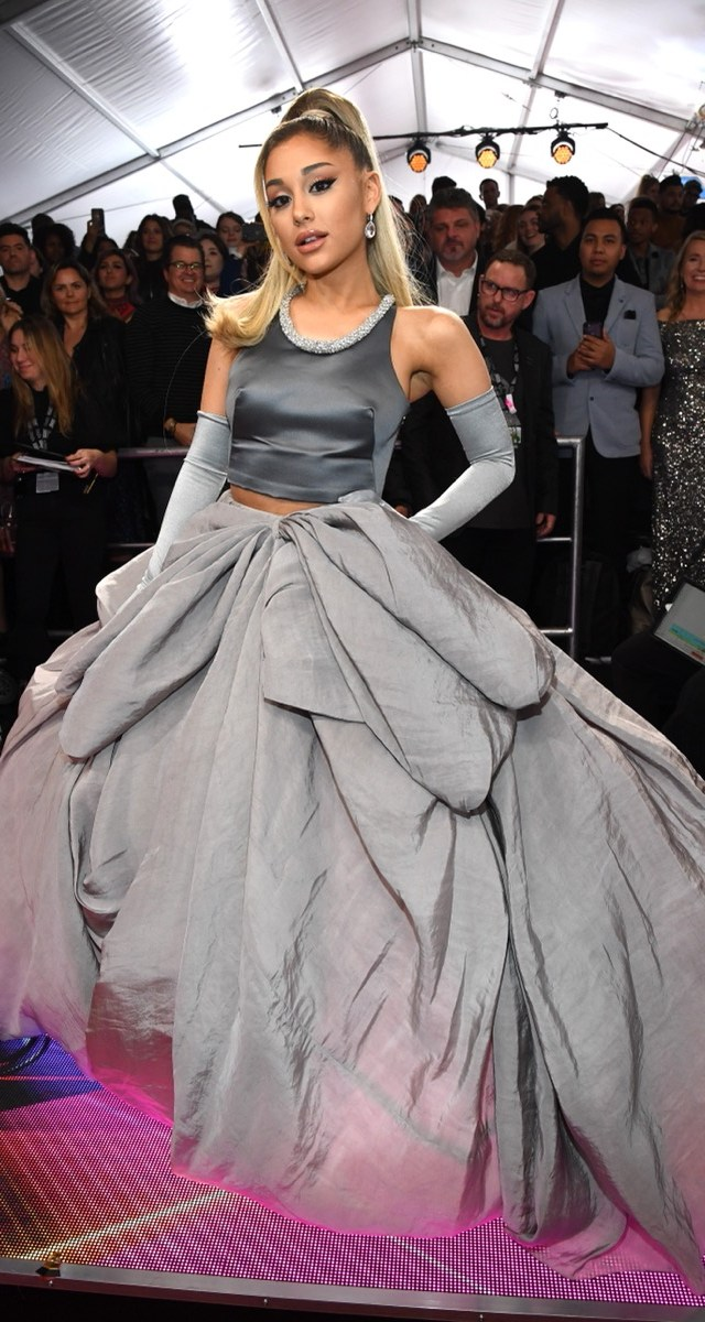 ariana grande in gray ballgown on red carpet