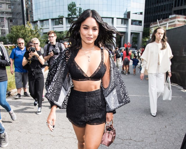 vanessa hudgens in black lace outfit on city street