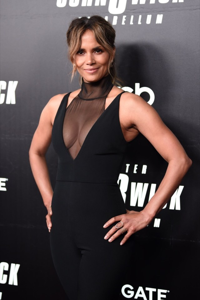 halle berry in black dress with sheer panel