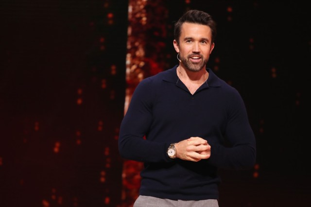 rob mcelhenney with microphone on stage