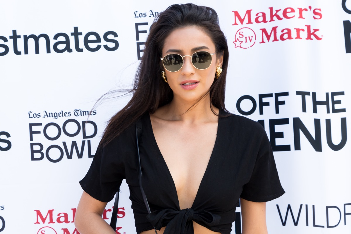 shay mitchell in crop top on red carpet