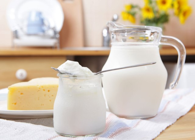 Dairy products like pitcher milk container yogurt cheese on tablecloth