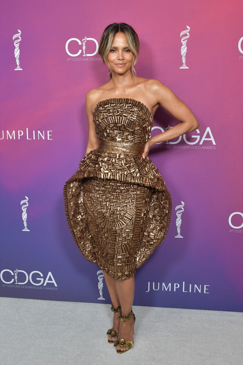 halle berry in gold dress on red carpet