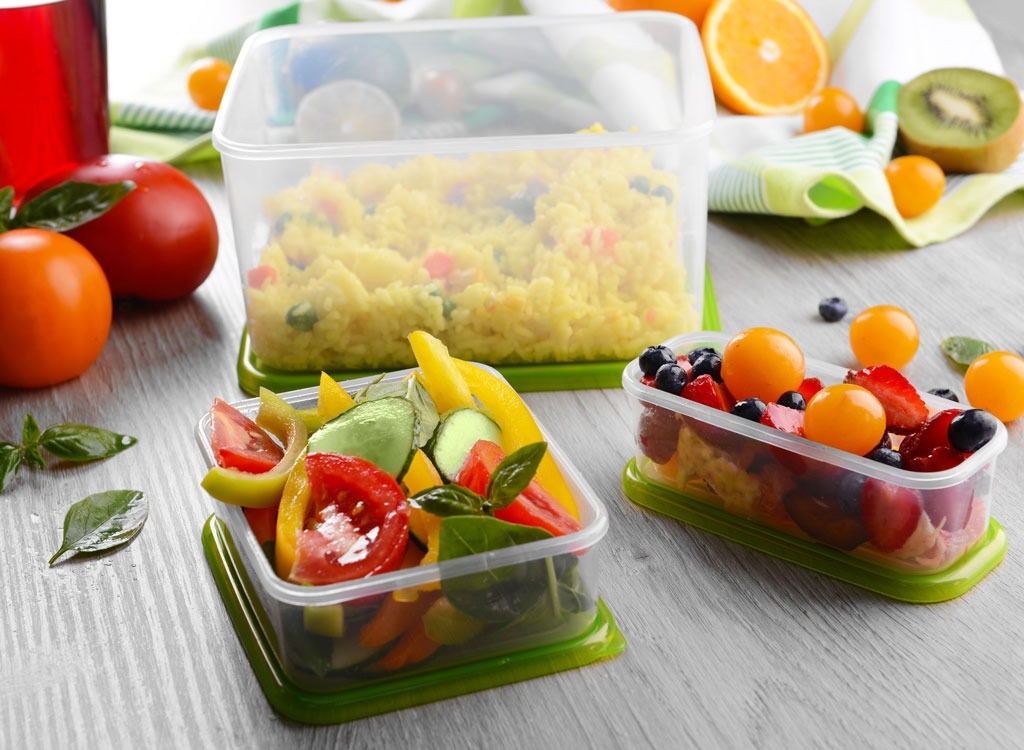 Leftover food in plastic containers