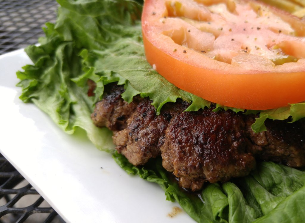 Burger with lettuce wrap and no bun